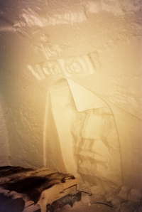 Snow carving on room wall